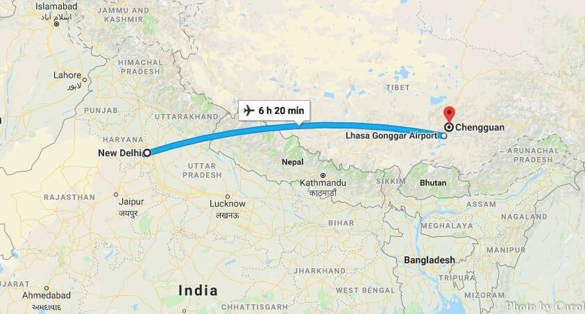 Cheap Flights Travel from New Delhi India to Lhasa Tibet China