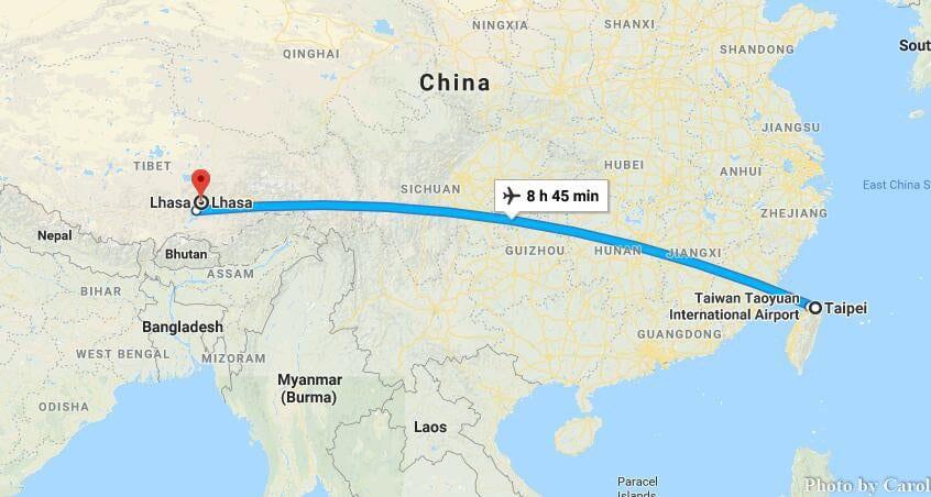 Cheap Flights Travel from Taipei Taiwan China to Lhasa Tibet China