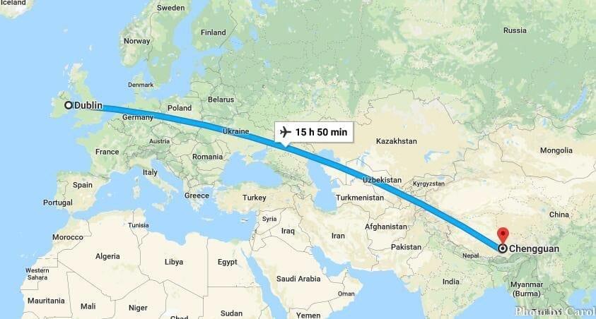 Filght Travel from Dublin Ireland to Lhasa Tibet China