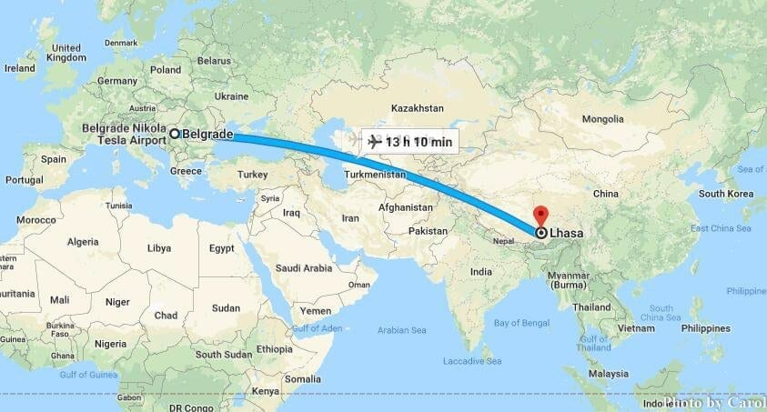 Flight Travel from Belgrade Serbia to Lhasa Tibet China