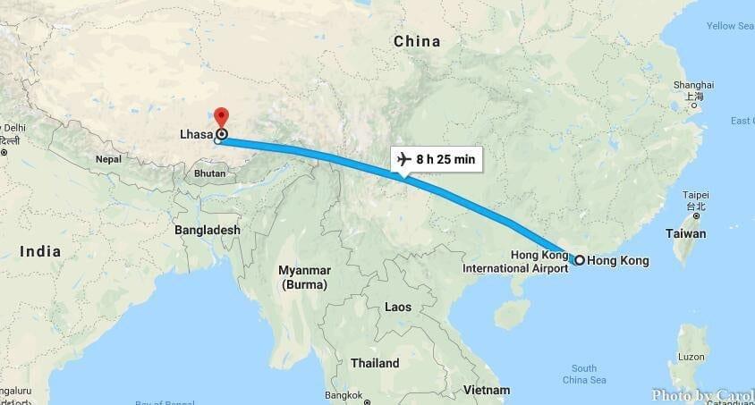 Flight Travel from Hongkong China to Lhasa Tibet China