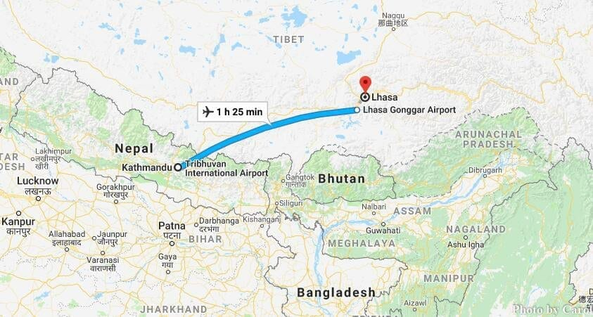 Kathmandu Nepal to Lhasa Tibet China Flight Tour Route