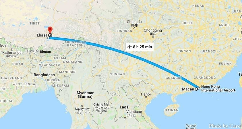 Macau China to Lhasa Tibet China Flights Travel Route