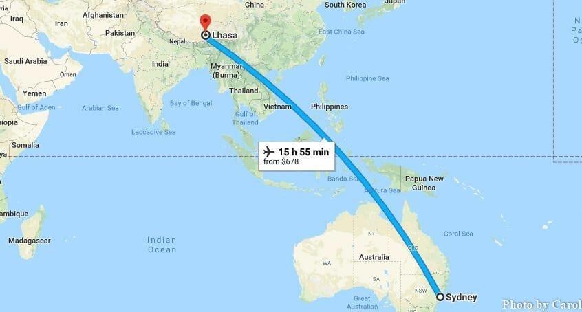 Sydney New South Wales Australia to Lhasa Tibet China Flights Travel