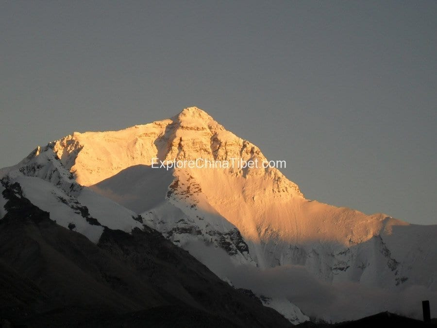 view to peak of Mt Everest at base camp